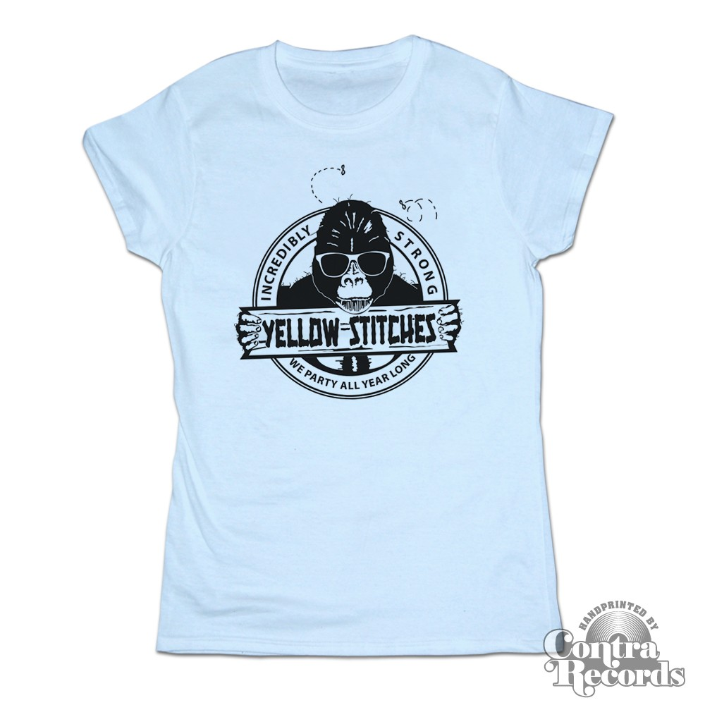 Yellow Stitches  - Girl Shirt - sky blue