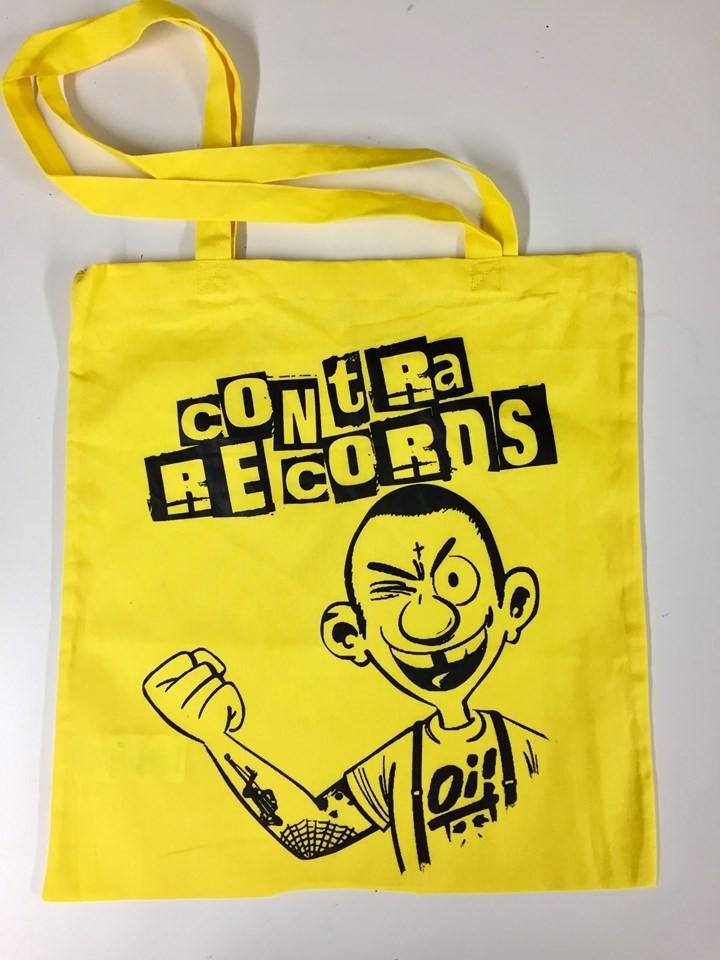 """Cotton Bag """"Contra Records Oi!"""" Yellow"""
