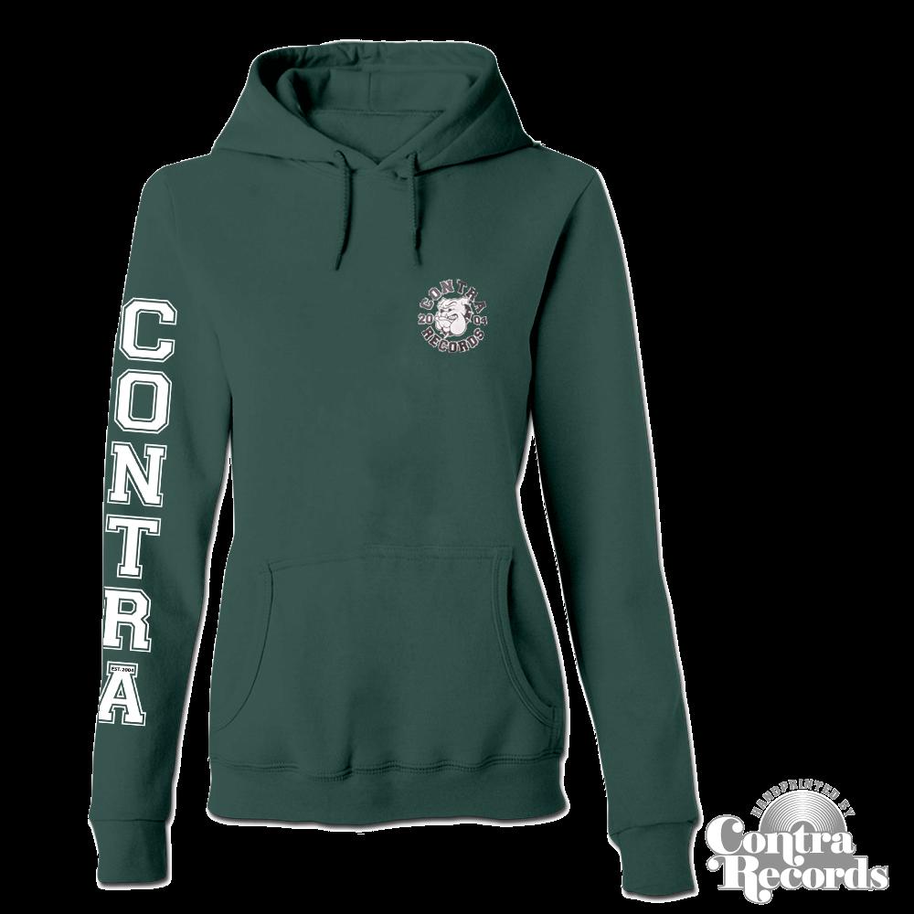 Contra Records  - Streetwear Bulldog - Girl Hoody dark green
