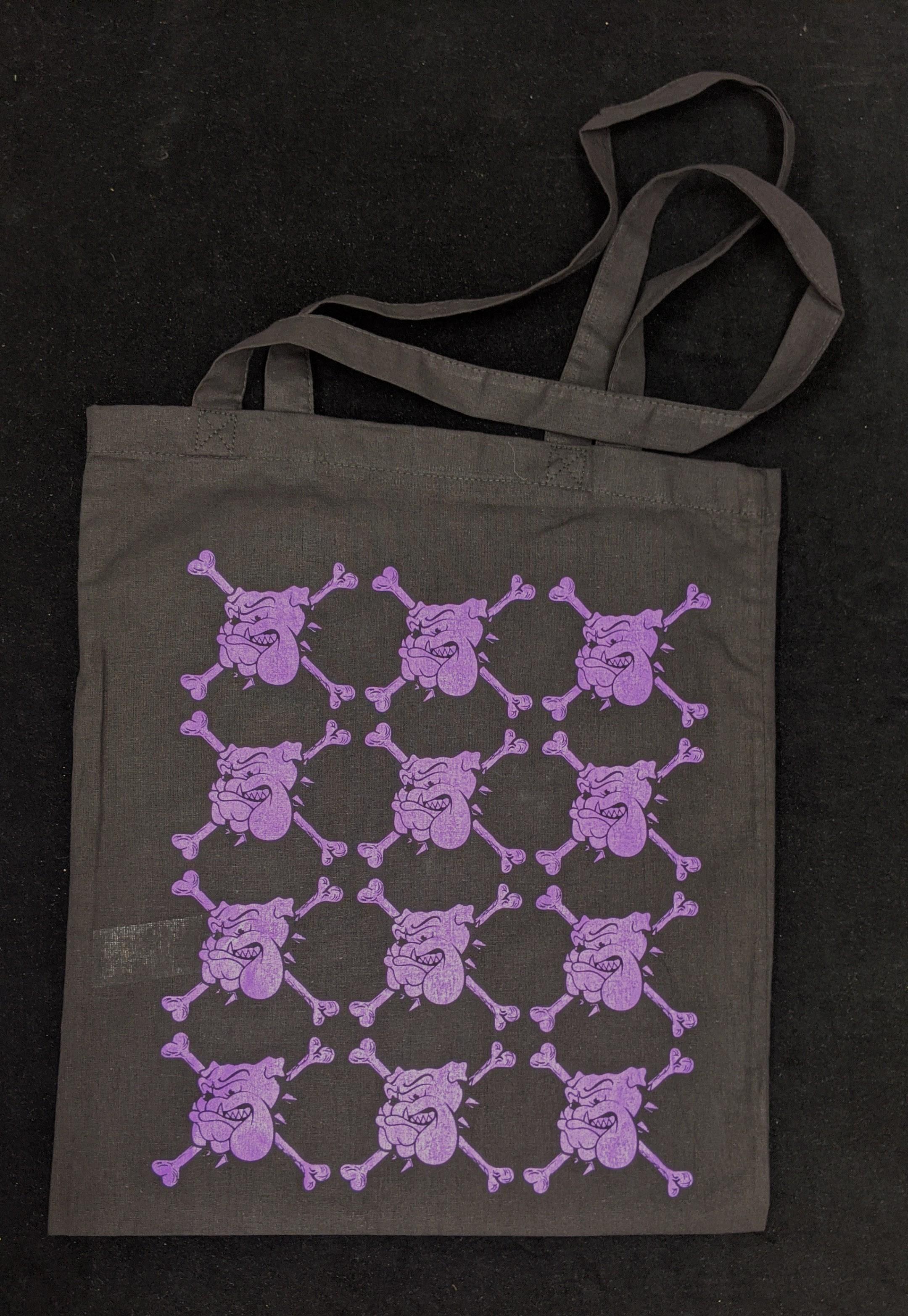 "Cotton Bag - ""bulldog"" black/purple print"