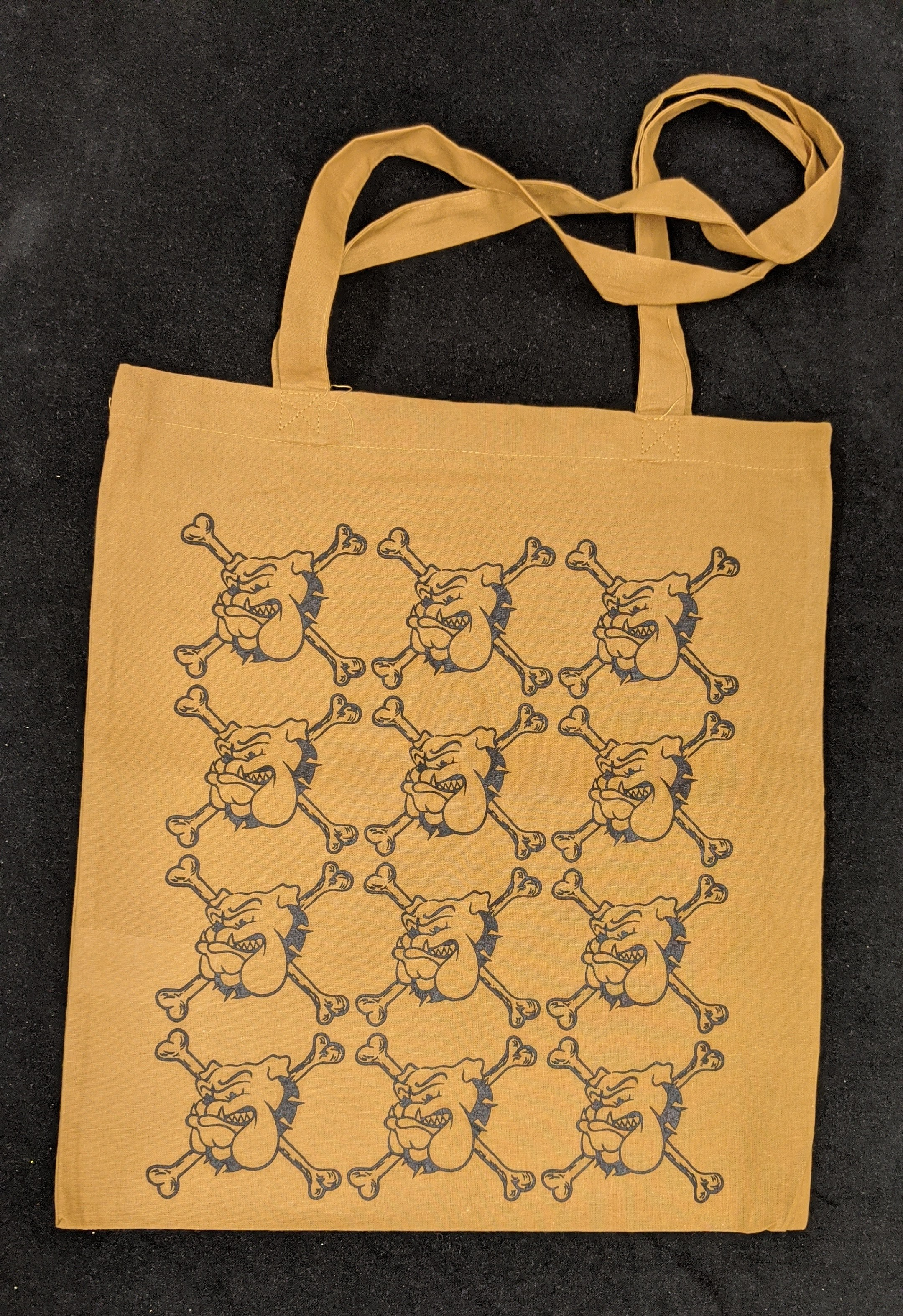 "Cotton Bag - ""bulldog"" bronze/black print"