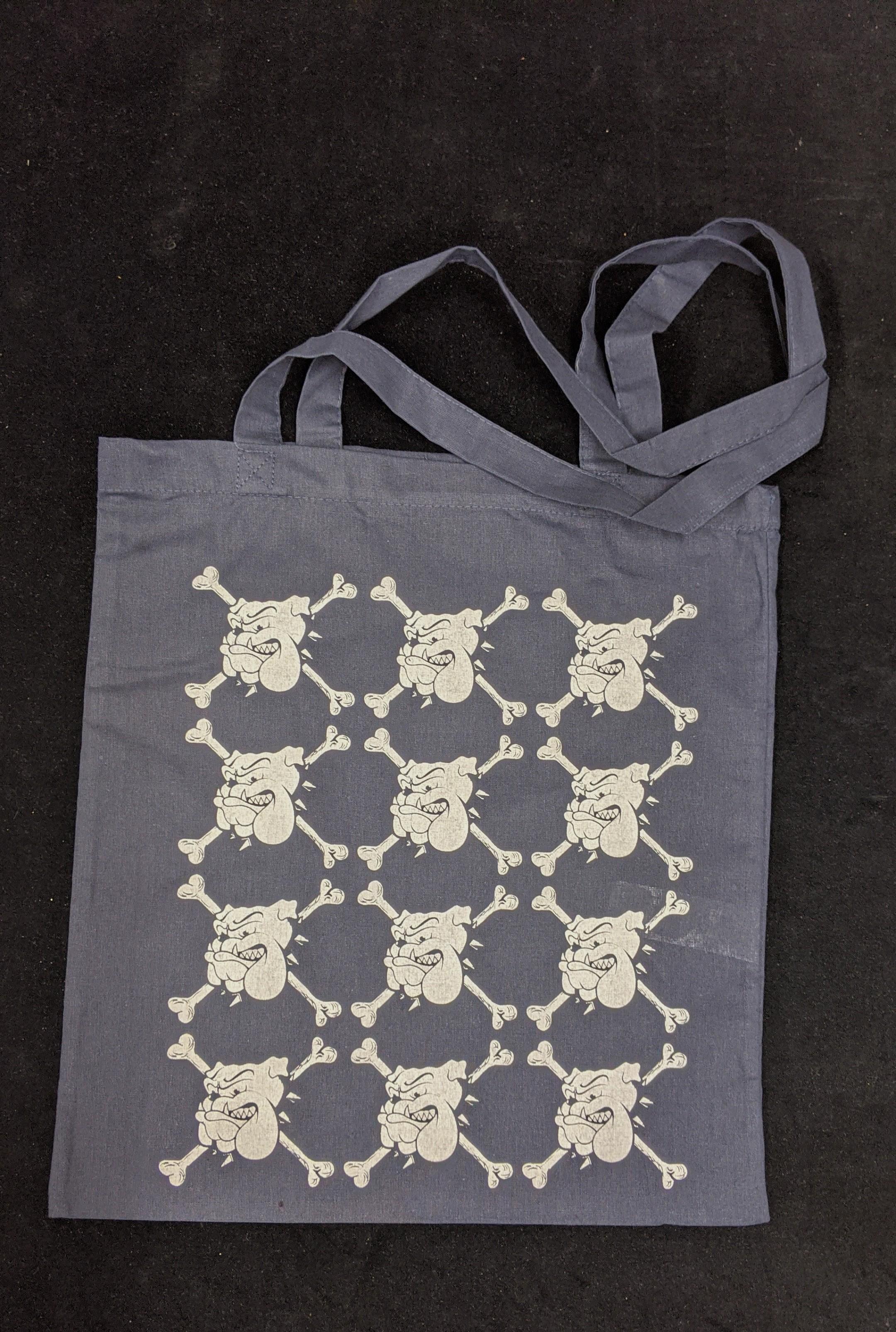 "Cotton Bag - ""bulldog"" navy blue/white print"