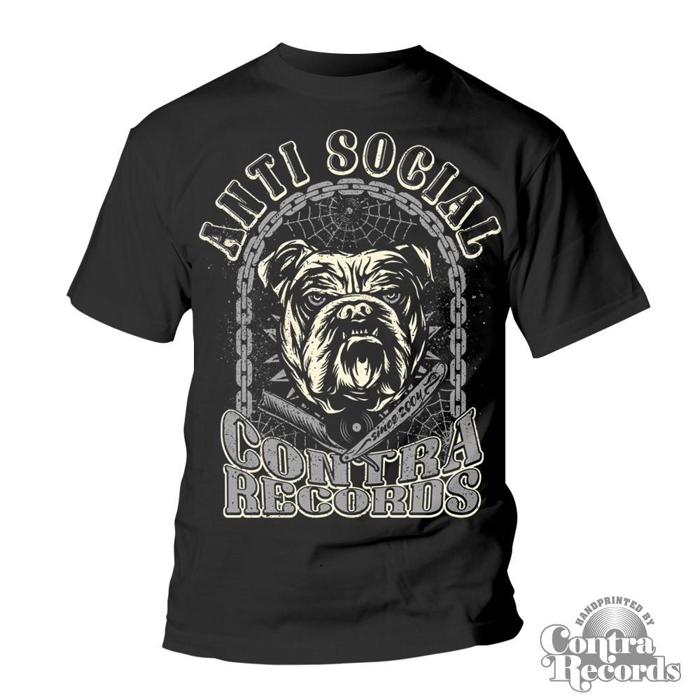 Contra Records - Antisocial Bulldog T-Shirt black
