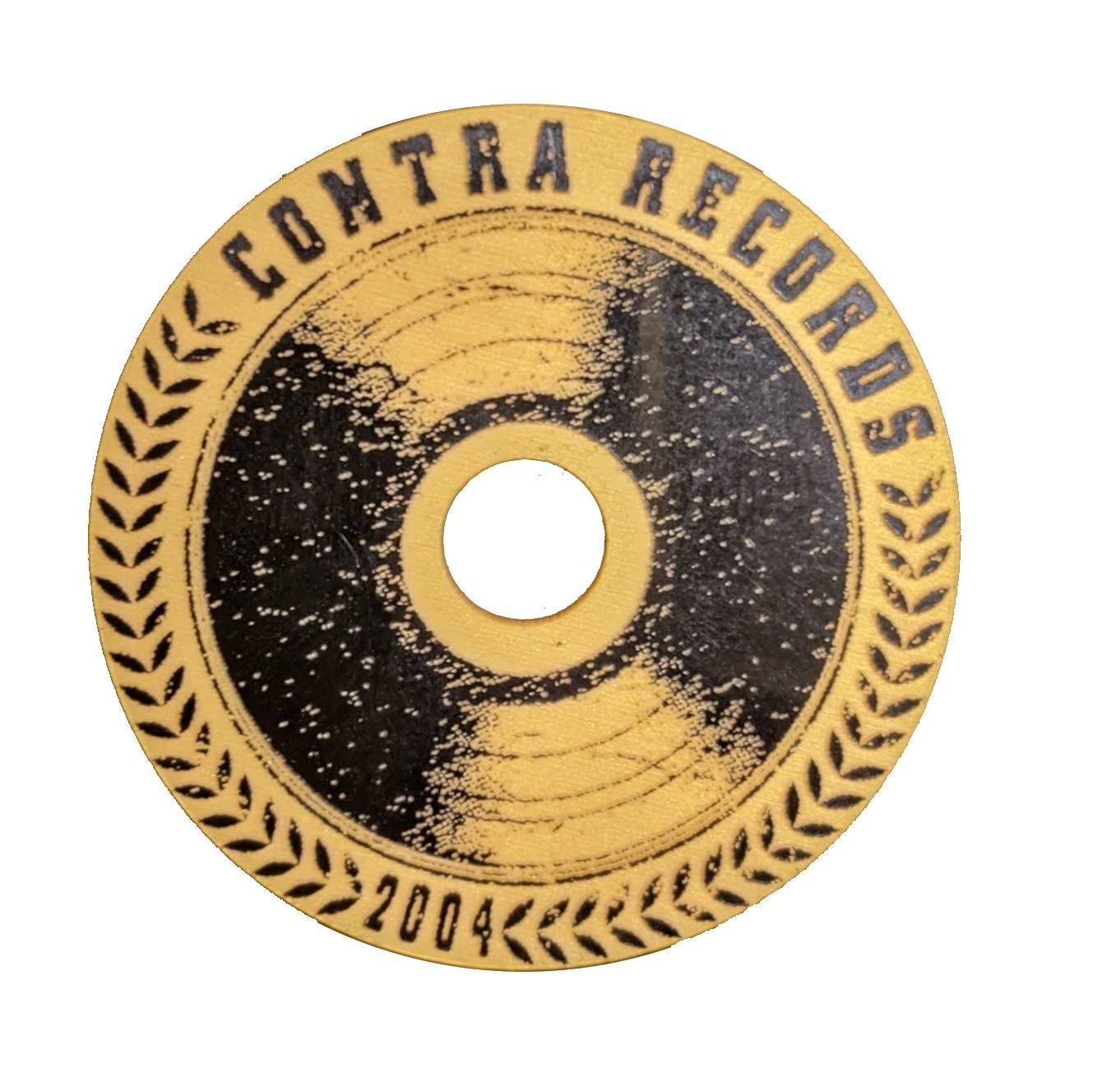 """Contra Records - """"Vinyl since 2004"""" - Single 45rpm Adapter gold/black"""