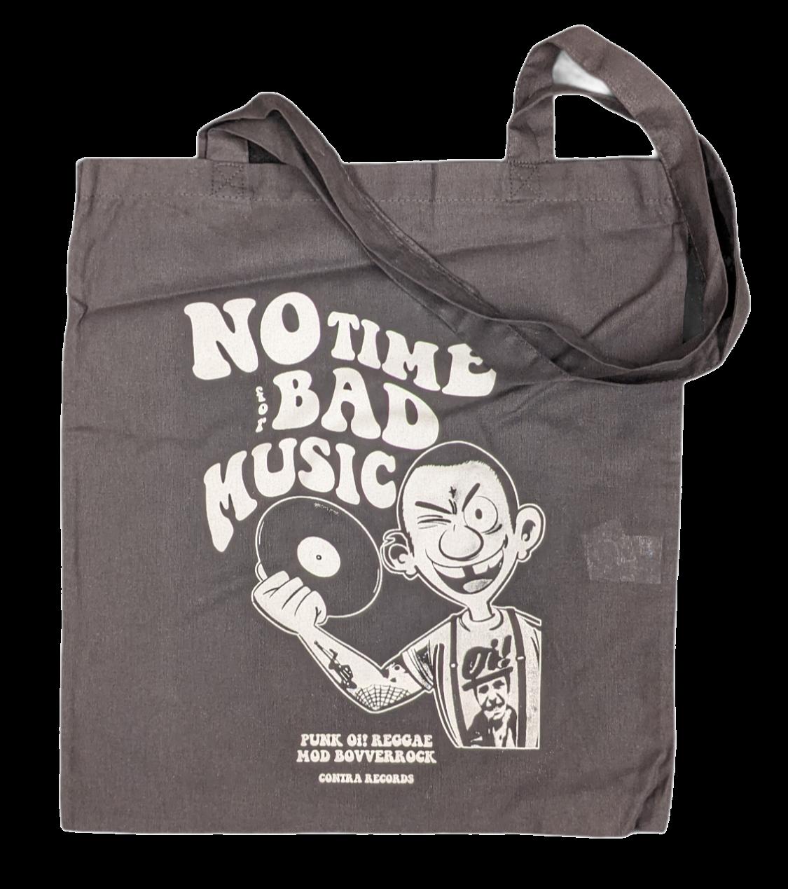 "Cotton Bag double sided print - ""no time for bad music/bulldog"" black/white print"