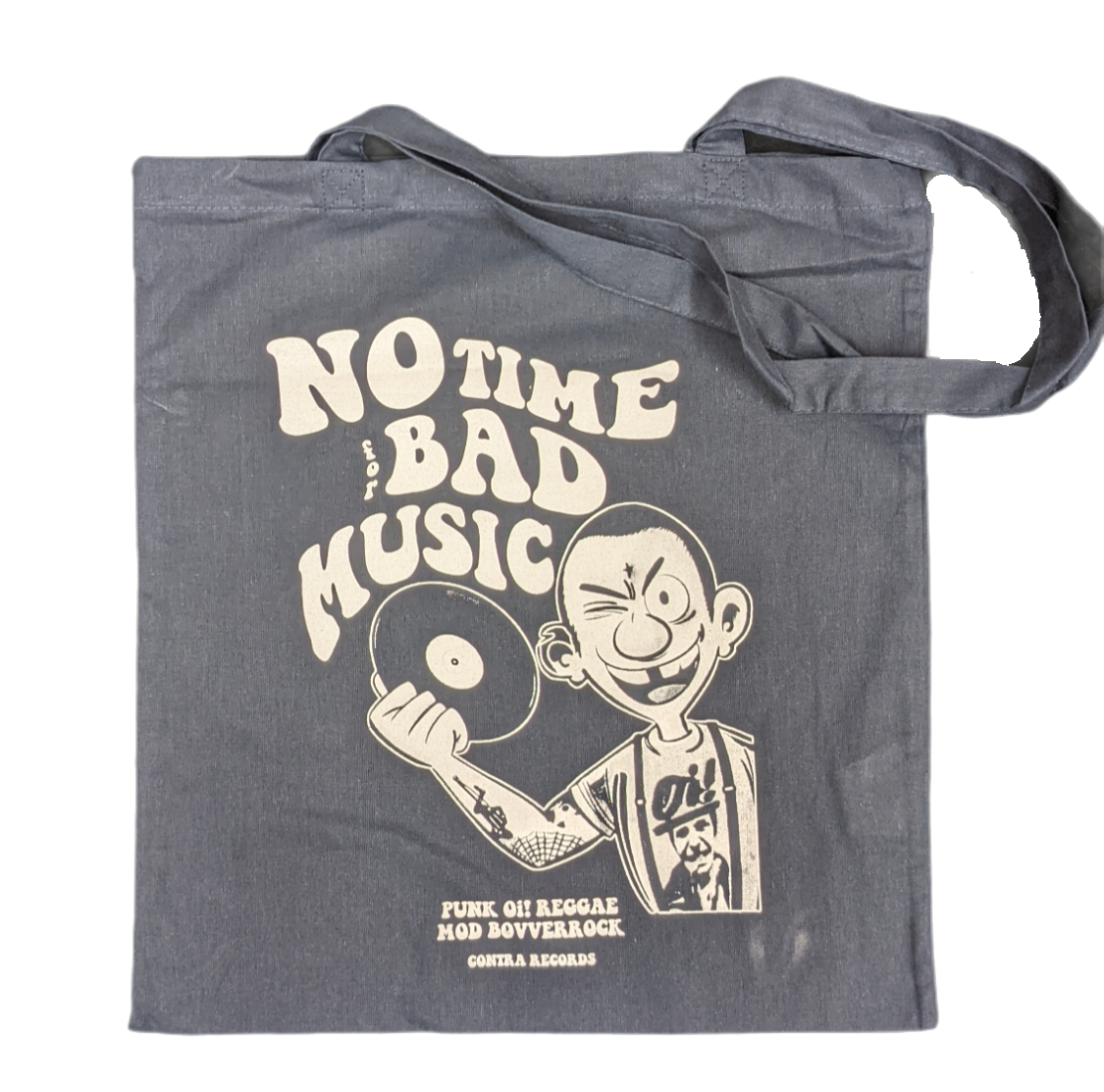 """Cotton Bag double sided print - """"no time for bad music/bulldog"""" navy blue/white print"""