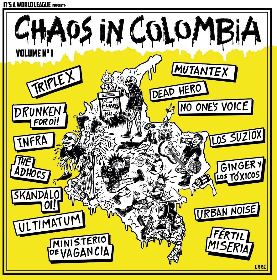 """V/A - Chaos In Colombia Vol.1-  12""""LP+A3 Poster lim. 200 blue"""