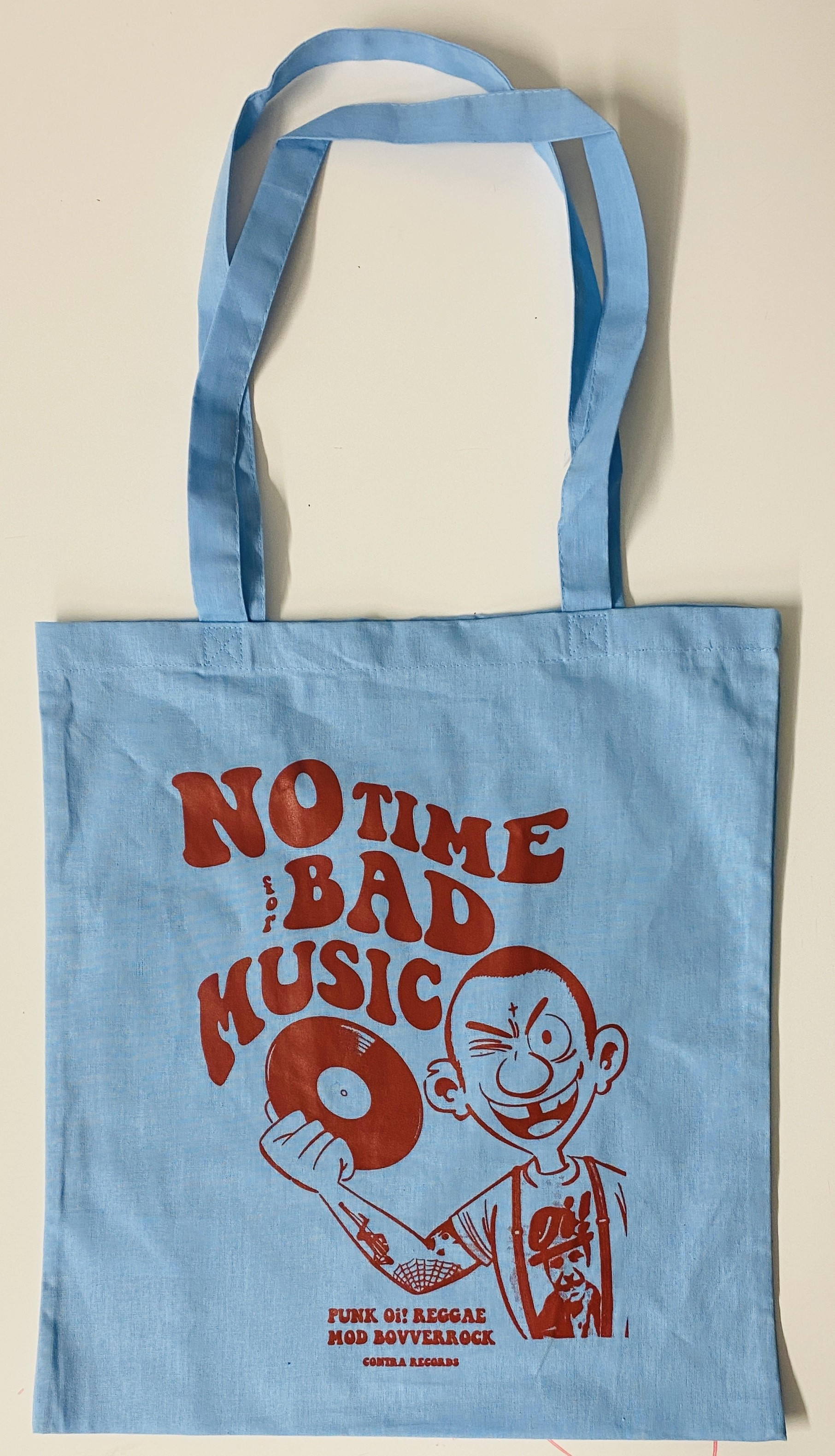 """Cotton Bag - """"no time for bad music"""" baby blue/red"""