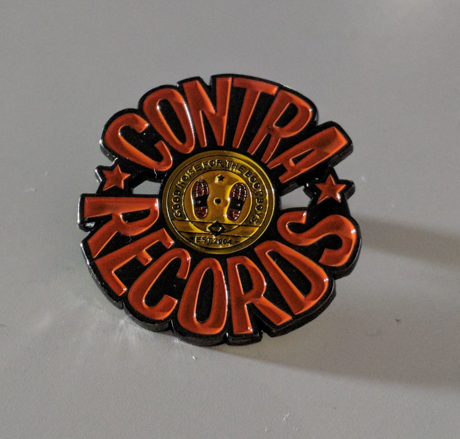 "Metall-Pin - Contra Records ""Good Noise For The Bootboys"""