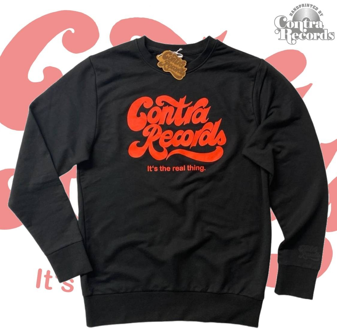 """Contra Records """"it's the real thing"""" Crewneck Sweatshirt lim.20 black"""