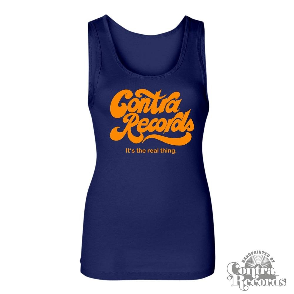 """Contra Records """"it's the real thing"""" Girl Tanktop navy blue"""