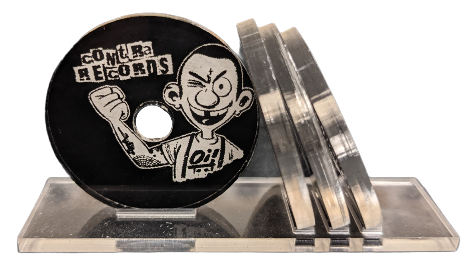 Contra Records Oi! - Single 45rpm Adapter clear/black