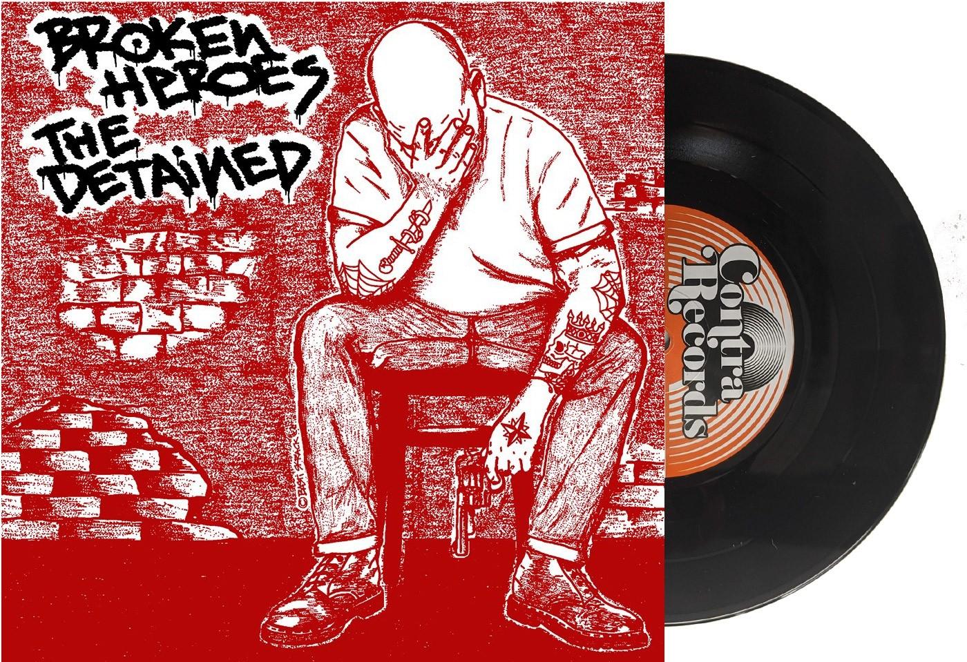 "V/A Broken Heroes / The Detained Split 7""EP lim.100 red cover/black vinyl"