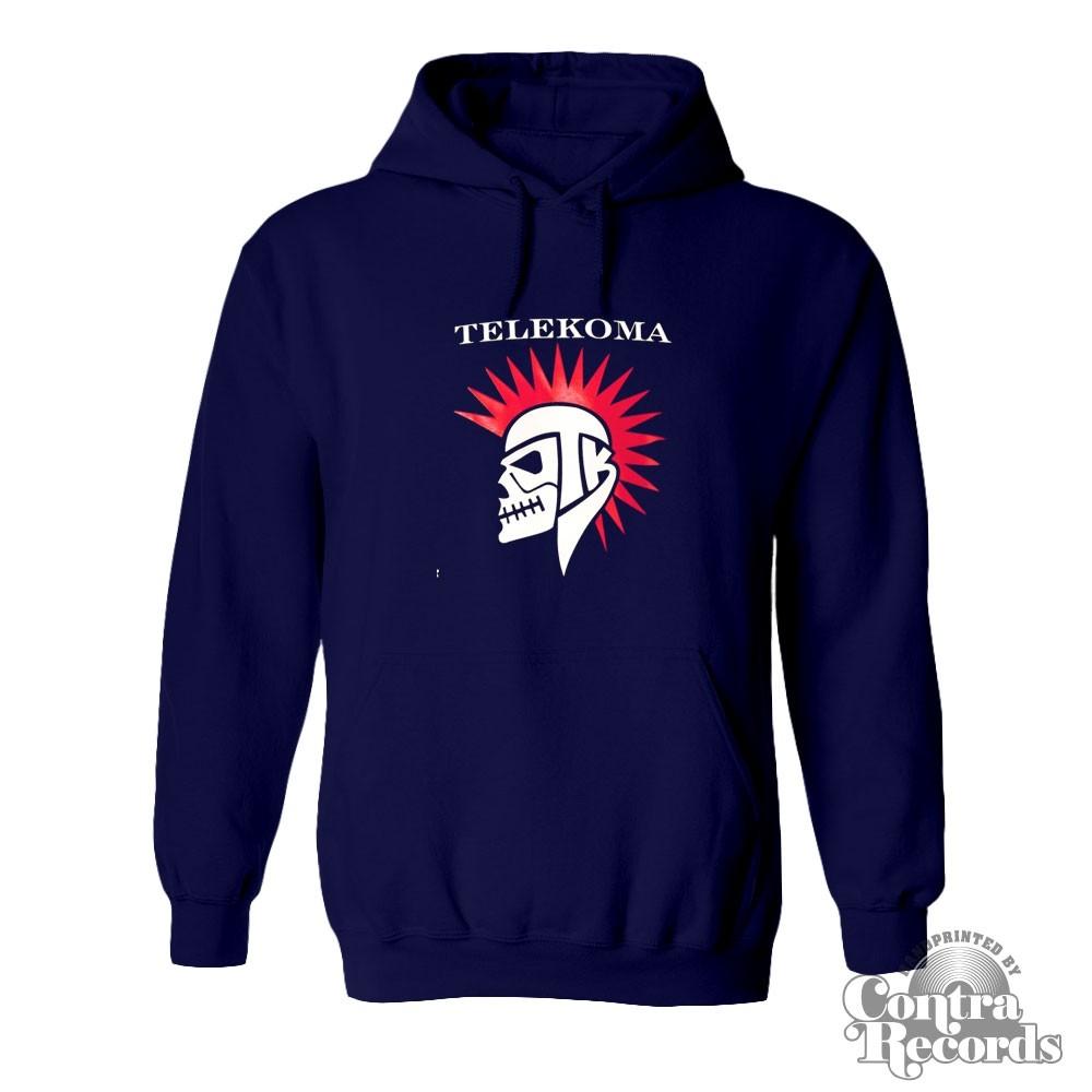 Telekoma - Skull - hoody Navy Blue front/backprint