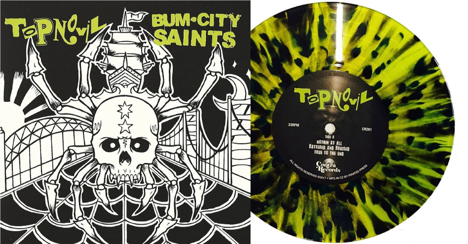 "V/A Topnovil/Bum City Saints-Split 7""EP lim.500 highlight yellow/blk"