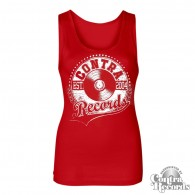 "Contra Records "" athletic vinyl"" Girl Tanktop red"