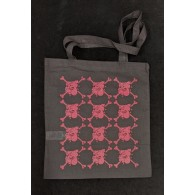 "Cotton Bag - ""bulldog"" black/pink print"