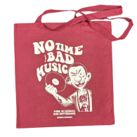 """Cotton Bag double sided print - """"no time for bad music/bulldog""""  oxblood red/white print"""
