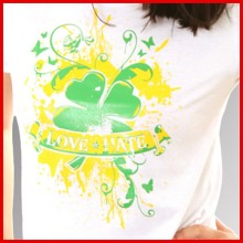 Love & Hate Kleeblatt white - Girl Shirt-XS (last size!!)