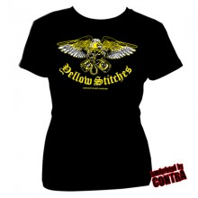 Yellow Stitches - Eagle - Girl Shirt black