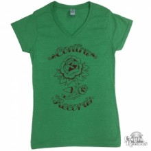 "Contra Records - ""Rose"" - Girl V-Neck-Shirt Green"