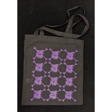 "Cotton Bag - ""bulldog"" black/purple print"