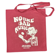 "Cotton Bag double sided print - ""no time for bad music/bulldog""  oxblood red/white print"