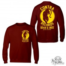 Contra Records - Panther Longsleeve Shirt oxblood red front/backprint