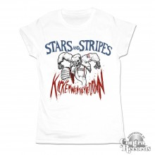 "Stars and Stripes - ""kick'em when they're down""Girl Shirt white"