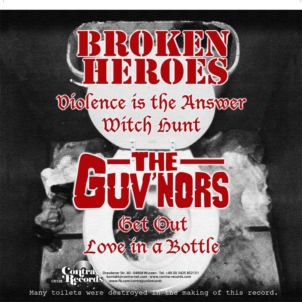 "V/A Broken Heroes/Guvnors-split-7""EP,lim.380 Black Cover"