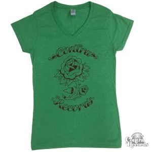 "Contra Records - ""Rose"" - Girl V-Neck-Shirt Green"