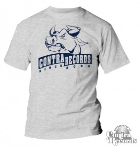 Contra Records -Bull since2004- College style T-Shirt Grey
