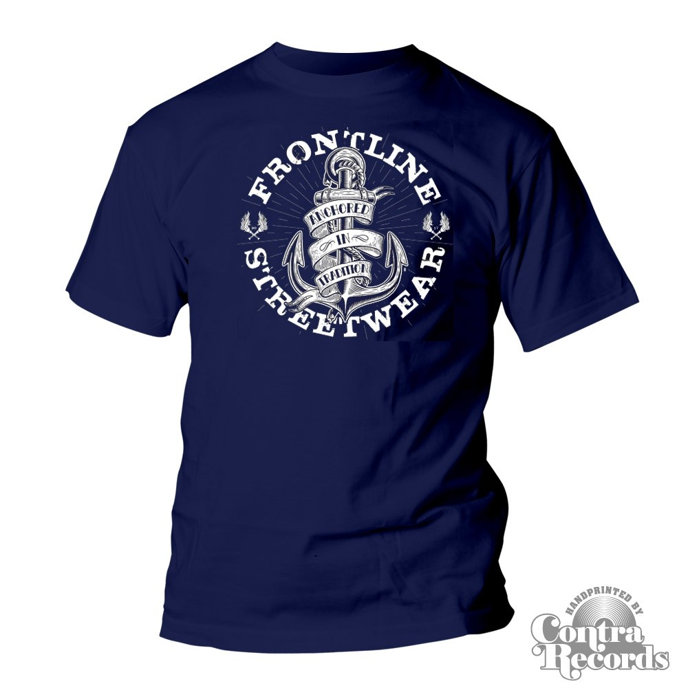 """Frontline Streetwear -""""ANCHORED IN TRADITION"""" T-Shirt navy blue"""