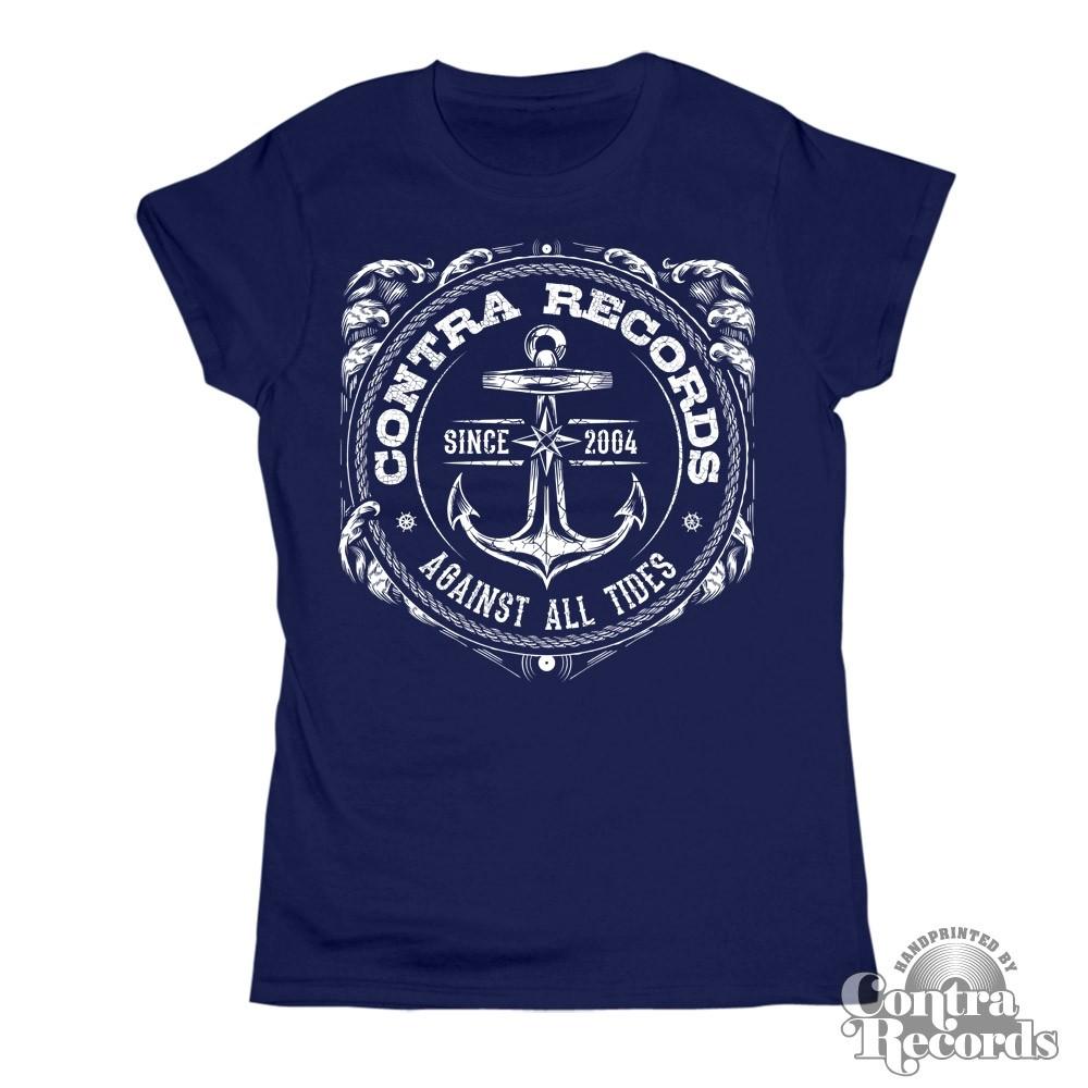 """Contra Records """"Anchor new"""" Girl Shirt navy blue"""