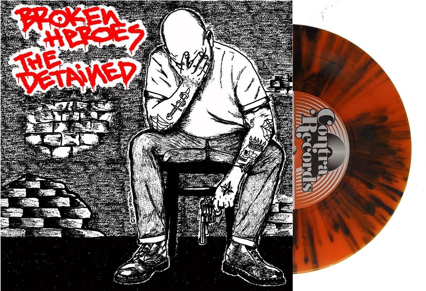 """V/A Broken Heroes / The Detained Split 7""""EP lim. 200 black cover/splatter vinyl"""