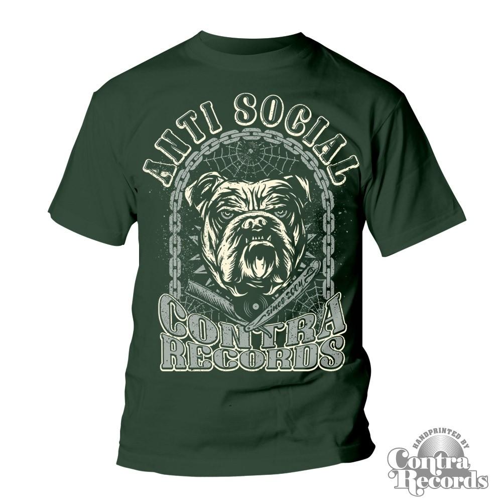 Contra Records - Antisocial Bulldog T-Shirt dark bottle green (lim. edt)