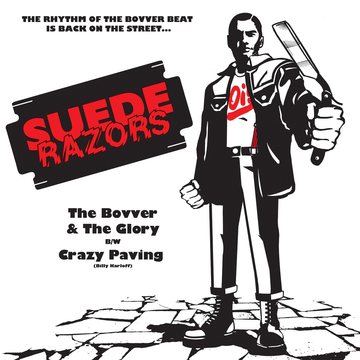 """Suede Razors - """"The Bovver and the Glory"""" 7""""EP lim.50 black in Red Cover art"""