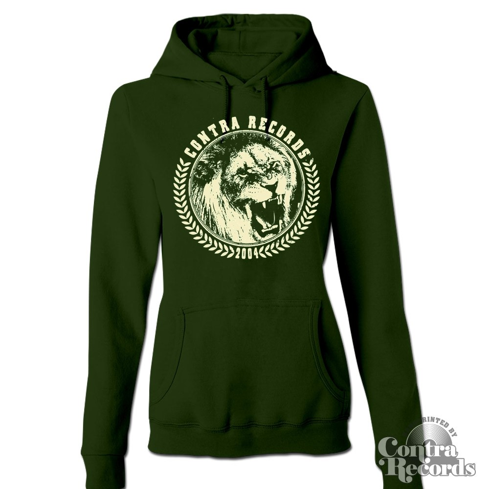"Contra Records - ""Lion"" - Girl Hoody dark green"