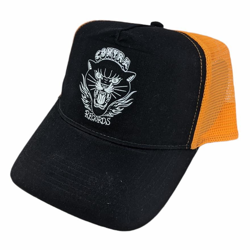 "Contra Records ""Black Panther"" - Trucker Cap white on black/orange"