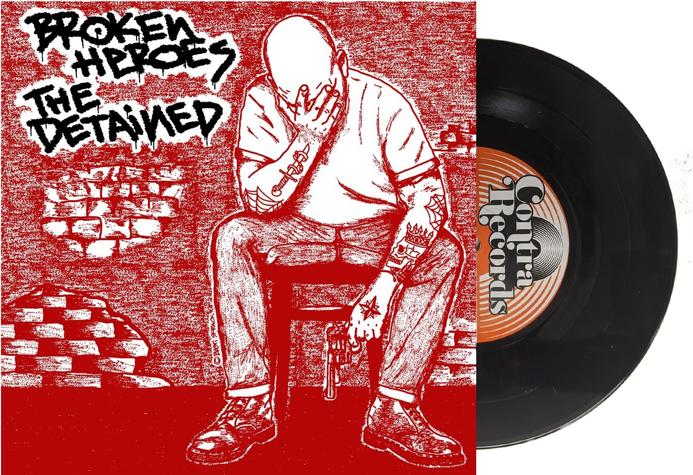 "V/A Broken Heroes / The Detained Split 7""EP lim.100 red cover/black vinyl"