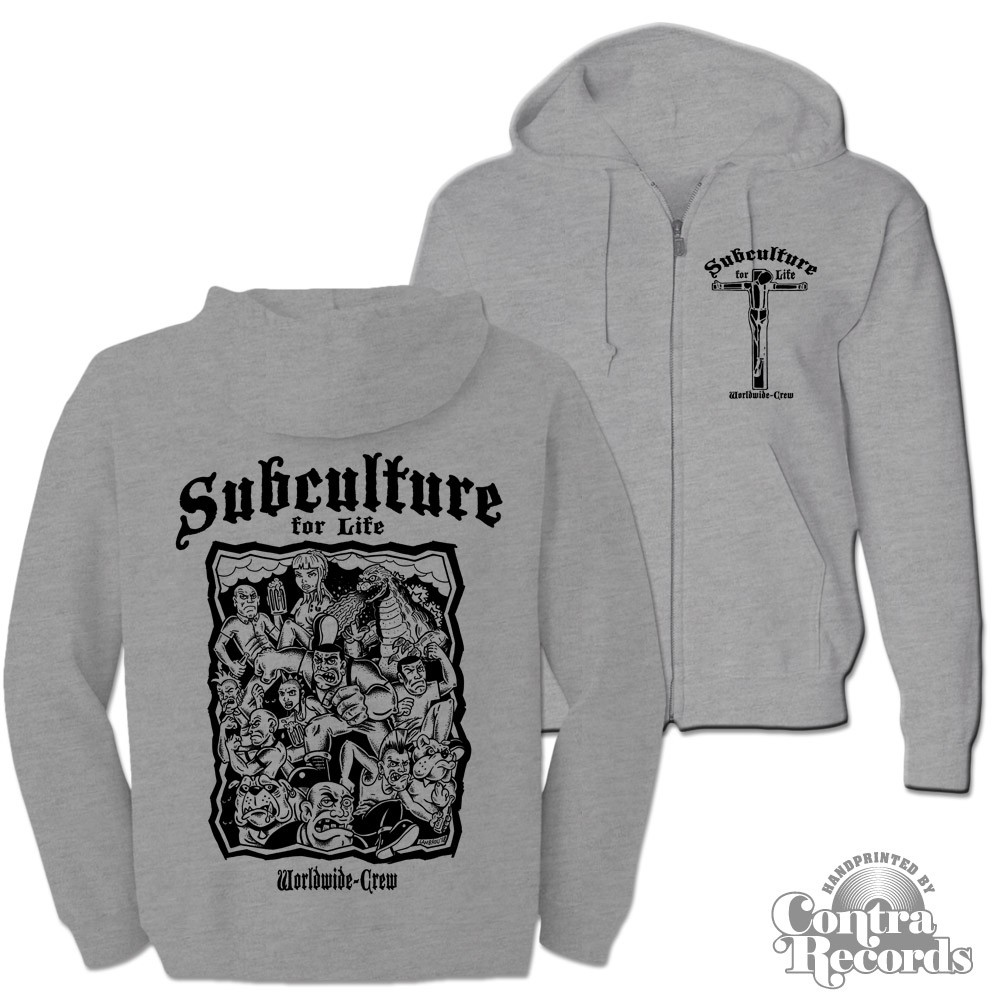 "Subculture for Life - ""Worldwide Crew"" - Zip Hooded Jacket grey"