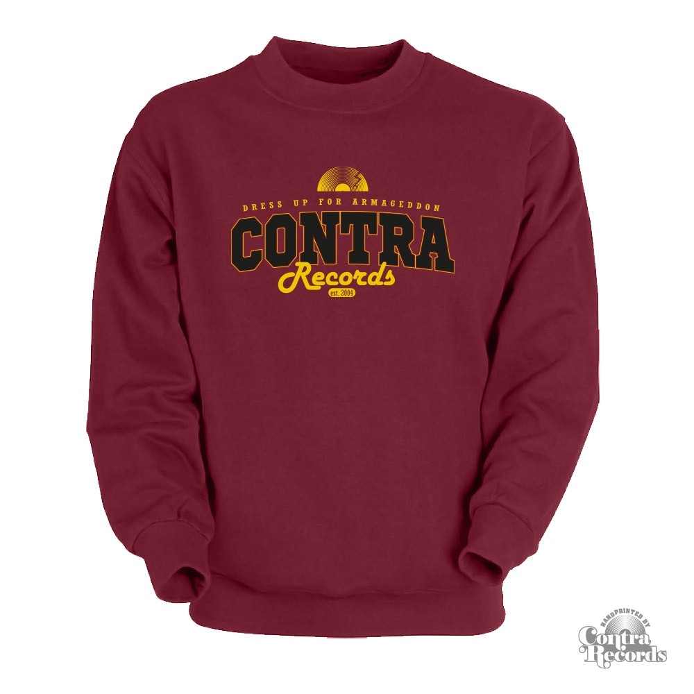 "Contra Records - ""dress up for..."" Crewneck Sweatshirt oxblood red"