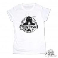 Yellow Stitches  - Girl Shirt - sky white
