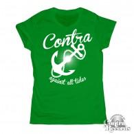 Girl Shirt - Contra Records - Anchor - V Neck green