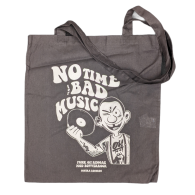 "Cotton Bag double sided print - ""no time for bad music/bulldog"" black/white print"