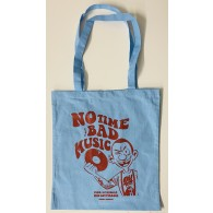 "Cotton Bag - ""no time for bad music"" baby blue/red"