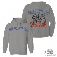 "Stars and Stripes - ""kick'em when they're down"" Hoody grey front/backprint"