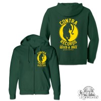 Contra Records - Panther - Zip Hooded Jacket dark green