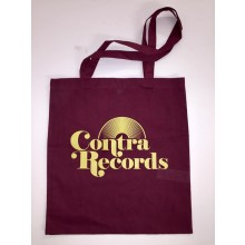 "Cotton Bag ""vinyl"" oxblood red & yellow"