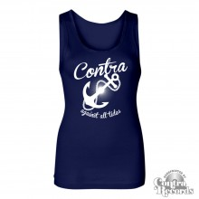 Contra Records - Anchor - Girl Tank Top - navy
